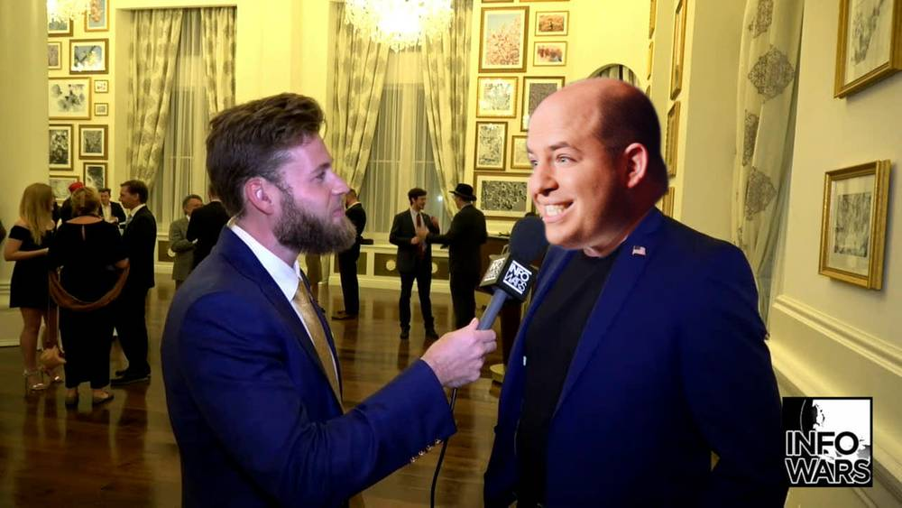 Infowars Reporter Interviews Brian Stelter At Social Media Summit Party